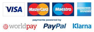 Visa, Mastercard, Maestro, American Express logos and payment methods WorldPay, PayPal and Klarna